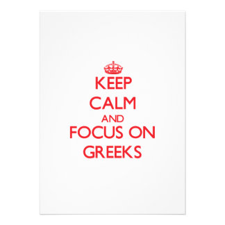 Keep Calm and focus on Greeks Cards