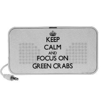 Keep calm and focus on Green Crabs Laptop Speaker