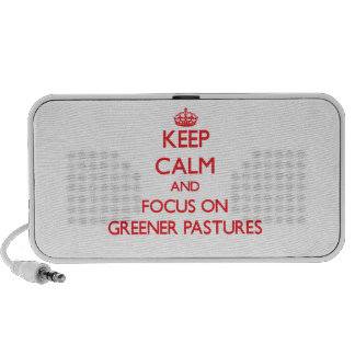 Keep Calm and focus on Greener Pastures iPhone Speakers