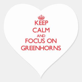 Keep Calm and focus on Greenhorns Heart Sticker