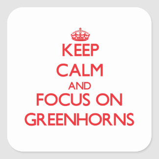 Keep Calm and focus on Greenhorns Square Stickers