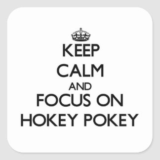 Keep Calm and focus on Hokey Pokey Square Stickers