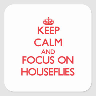 Keep Calm and focus on Houseflies Square Sticker