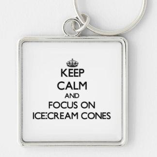 Keep Calm and focus on Ice-Cream Cones Key Chain