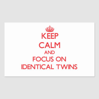 Keep Calm and focus on Identical Twins Rectangle Stickers