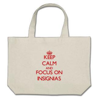 Keep Calm and focus on Insignias Canvas Bag