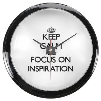 Keep Calm and focus on Inspiration Aquavista Clock