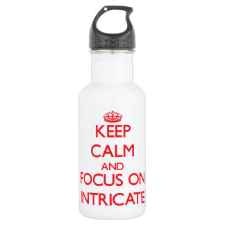Keep Calm and focus on Intricate 18oz Water Bottle