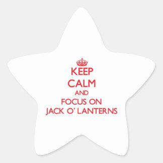 Keep Calm and focus on Jack O Lanterns Star Sticker
