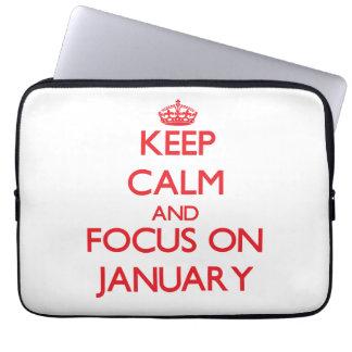 Keep Calm and focus on January Computer Sleeve