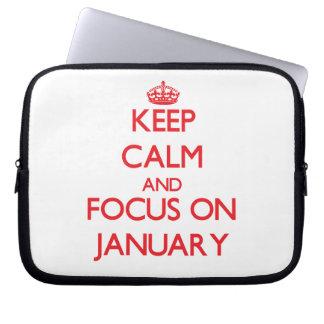 Keep Calm and focus on January Laptop Computer Sleeve