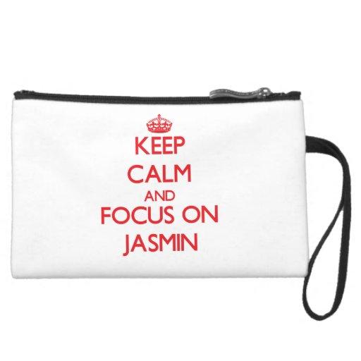 Keep Calm and focus on Jasmin Wristlet Purses