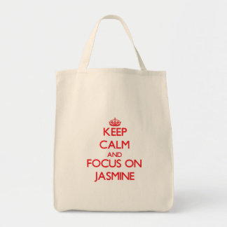 Keep Calm and focus on Jasmine Canvas Bags