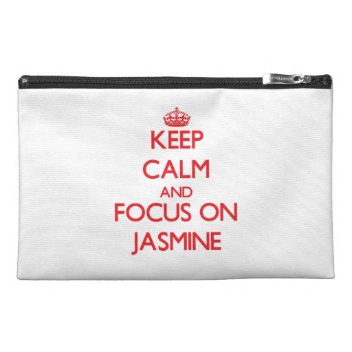 Keep Calm and focus on Jasmine Travel Accessory Bags
