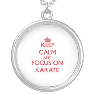 Keep Calm and focus on Karate Custom Necklace