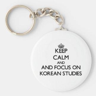 Keep calm and focus on Korean Studies Basic Round Button Key Ring
