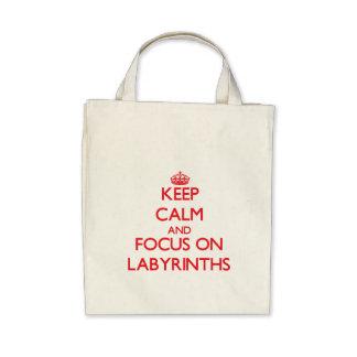 Keep Calm and focus on Labyrinths Canvas Bags