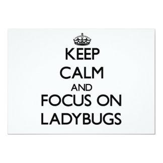 "Keep Calm and focus on Ladybugs 5"" X 7"" Invitation Card"