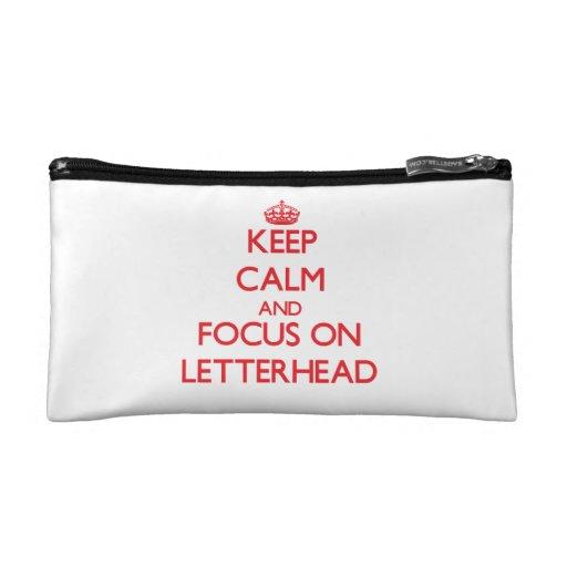 Keep Calm and focus on Letterhead Cosmetic Bag