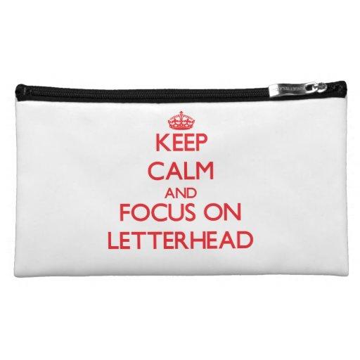 Keep Calm and focus on Letterhead Makeup Bags