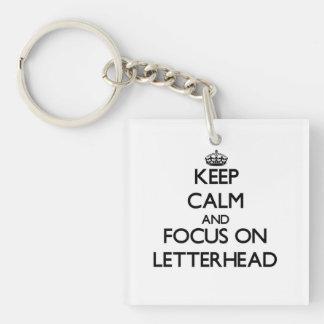 Keep Calm and focus on Letterhead Square Acrylic Key Chains