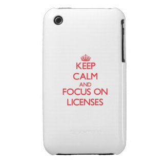 Keep Calm and focus on Licenses iPhone 3 Cover