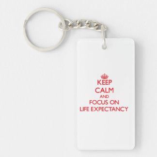 Keep Calm and focus on Life Expectancy Double-Sided Rectangular Acrylic Keychain