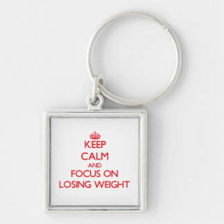 Keep Calm and focus on Losing Weight Silver-Colored Square Key Ring
