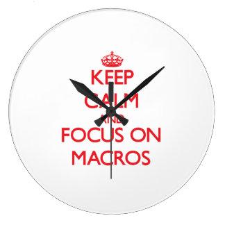 Keep Calm and focus on Macros Wall Clocks