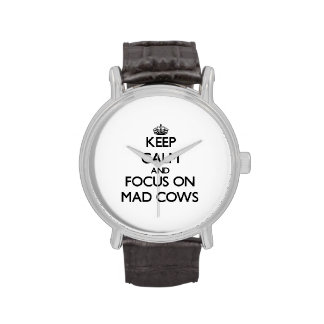 Keep Calm and focus on Mad Cows Wrist Watch
