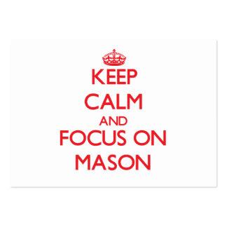 Keep Calm and focus on Mason Business Card Template