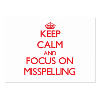 Keep Calm and focus on Misspelling Business Card Template