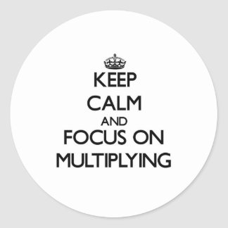 Keep Calm and focus on Multiplying Round Stickers