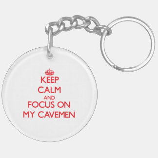 Keep Calm and focus on My Cavemen Double-Sided Round Acrylic Key Ring