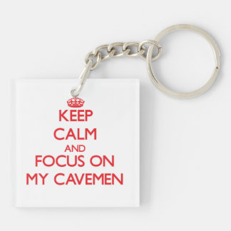 Keep Calm and focus on My Cavemen Double-Sided Square Acrylic Key Ring