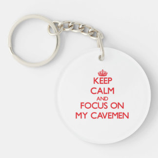 Keep Calm and focus on My Cavemen Single-Sided Round Acrylic Key Ring