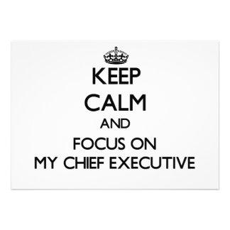 Keep Calm and focus on My Chief Executive Custom Invitation