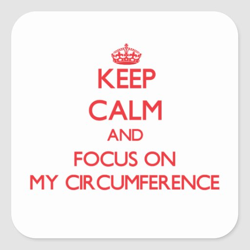 Keep Calm and focus on My Circumference Square Stickers