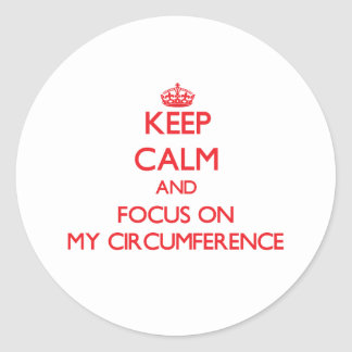 Keep Calm and focus on My Circumference Round Sticker