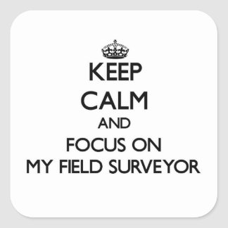 Keep Calm and focus on My Field Surveyor Square Sticker