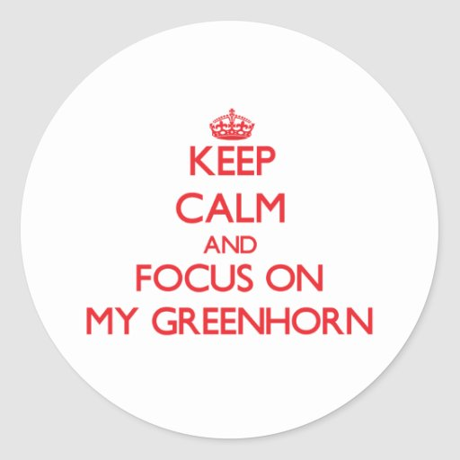 Keep Calm and focus on My Greenhorn Round Sticker