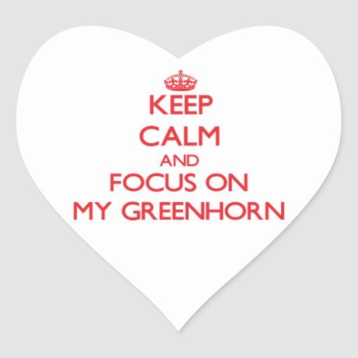 Keep Calm and focus on My Greenhorn Heart Stickers
