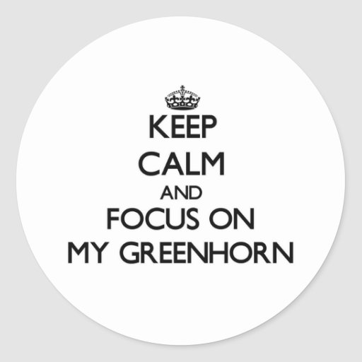 Keep Calm and focus on My Greenhorn Sticker