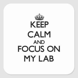 Keep Calm and focus on My Lab Square Sticker