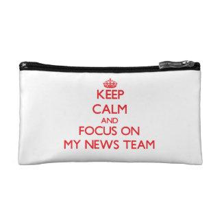 Keep Calm and focus on My News Team Cosmetics Bags