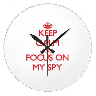 Keep Calm and focus on My Spy Wallclocks