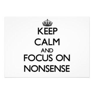 Keep Calm and focus on Nonsense Invitation