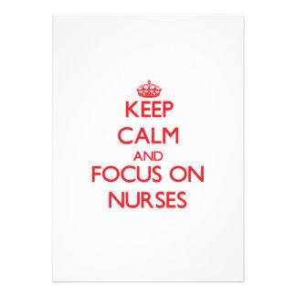 Keep Calm and focus on Nurses Custom Invitation