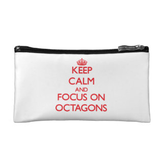 kEEP cALM AND FOCUS ON oCTAGONS Makeup Bags