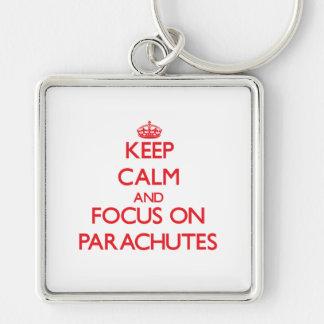 kEEP cALM AND FOCUS ON pARACHUTES Keychain